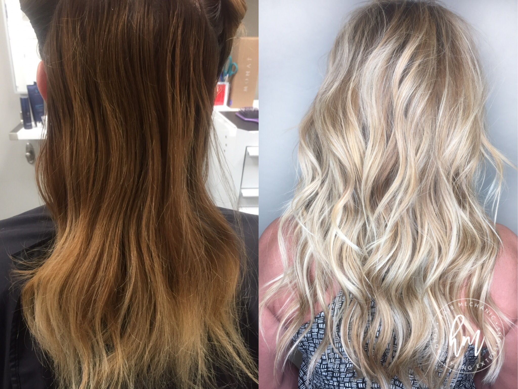 Before After Nbr Hair Extensions Golden Blonde Hair Natural