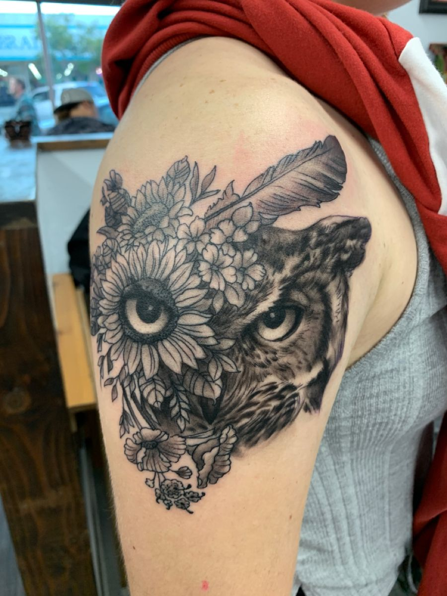 Black and grey owl in 2020 Funhouse tattoo, Black and