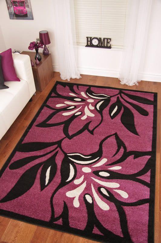 Large Mat Purple Plum Aubergine Soft Thick Quality Rugs Ebay