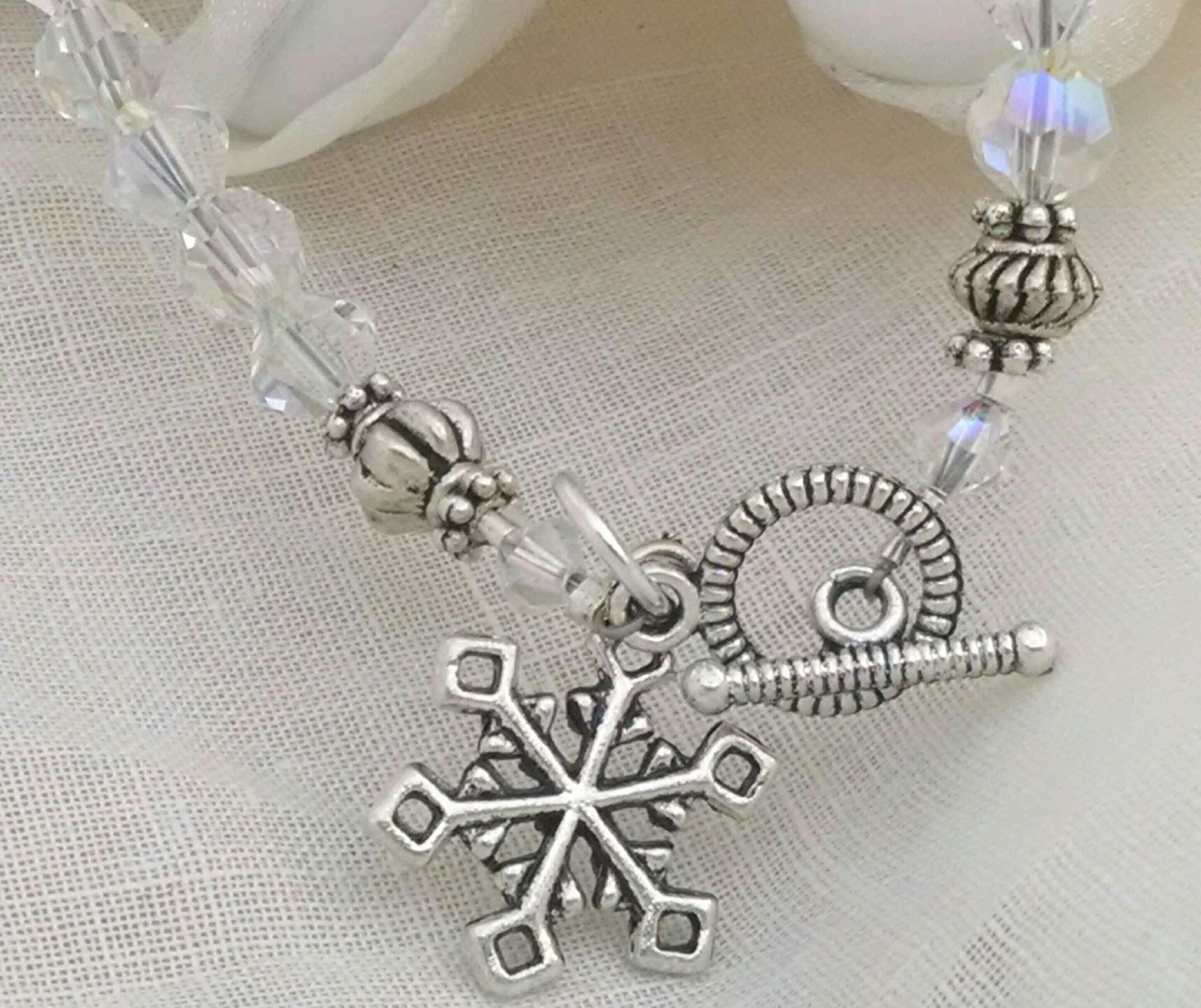 Crystal Snowflake Bracelet Winter Wedding Bracelet Bridesmaid