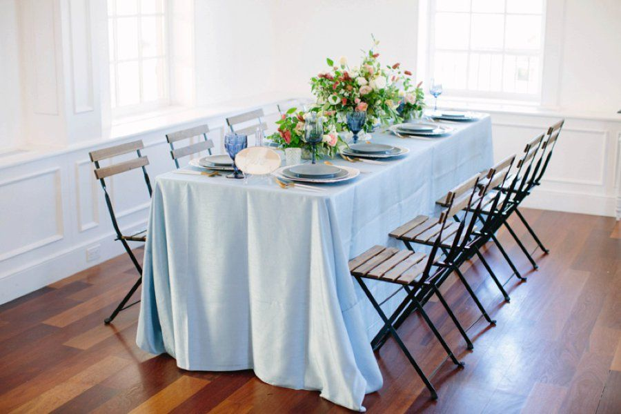 Elegant Floral Blue  Peach Wedding Ideas Wedding Centerpieces by