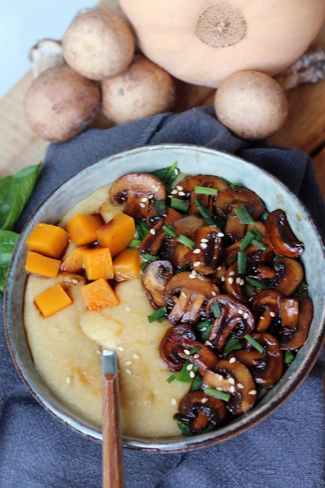 Polenta crémeuse aux champignons – du bio dans mon bento #vegetarischerezepteschnell