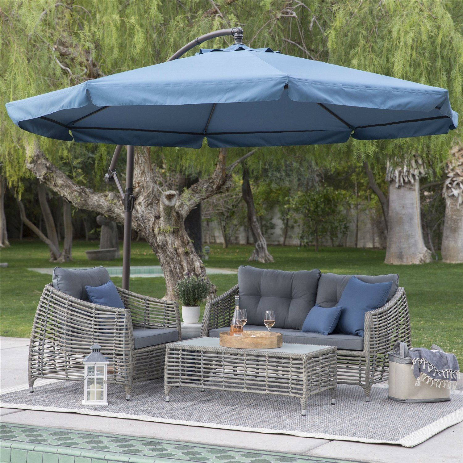 Navy Blue 11 Ft Offset Steel Patio Umbrella Gazebo Canopy With Removable Mosquito Netting Patio Gazebo Canopy Pergola