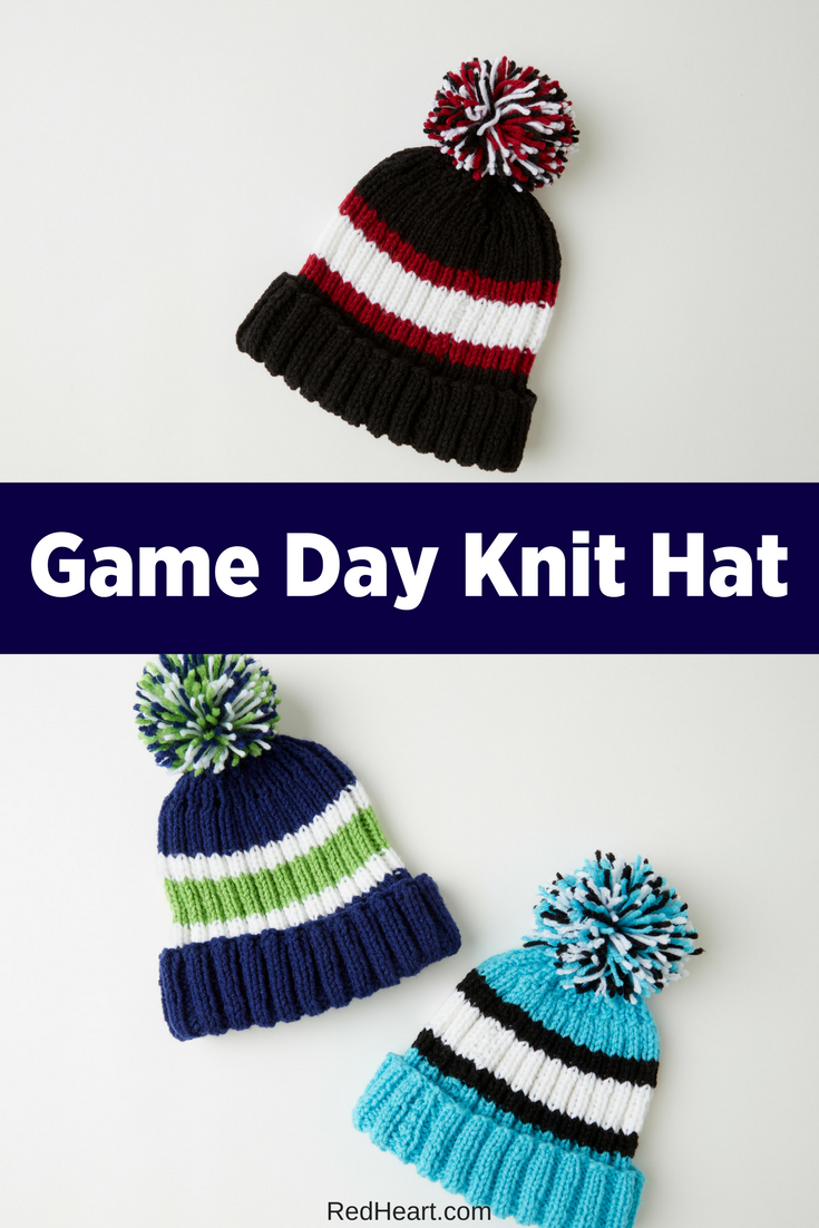 Show your enthusiasm for your favorite sports team with this easy knit hat!  The gender-neutral style is great for all! 74c344d9518