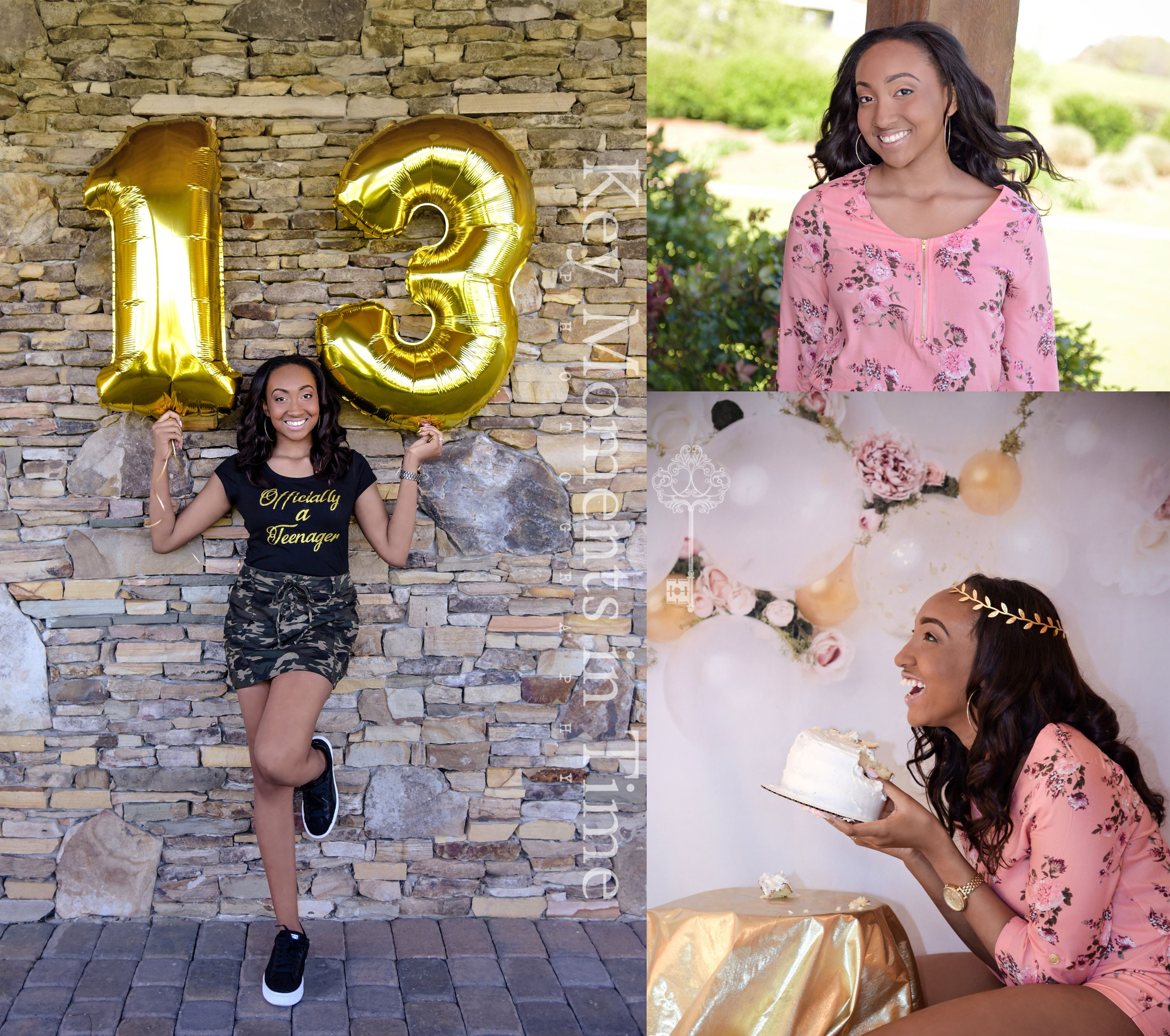13th Photo Session Officially A Teenager Photo Ideas Black And Gold Photos Idea Teenage Girl Birthday Birthday Photoshoot 13th Birthday Party Ideas For Girls