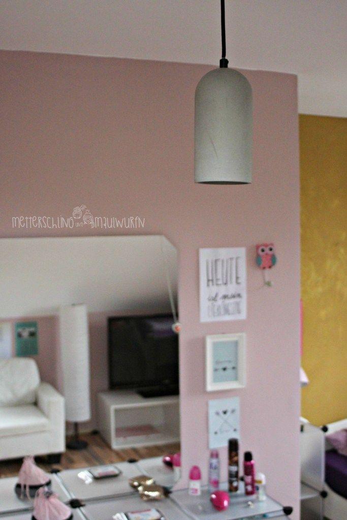 betonlampe kinderzimmer mdchenzimmer jugendzimmer rosa gold schlicht edel - Jugendzimmer Schwarz Wei