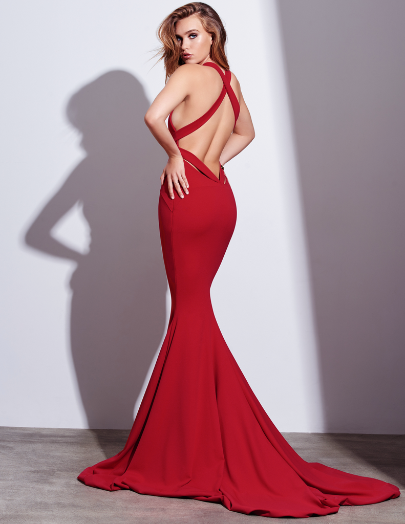 Sexy mermaid red vneckline open back prom dress elegant clothes