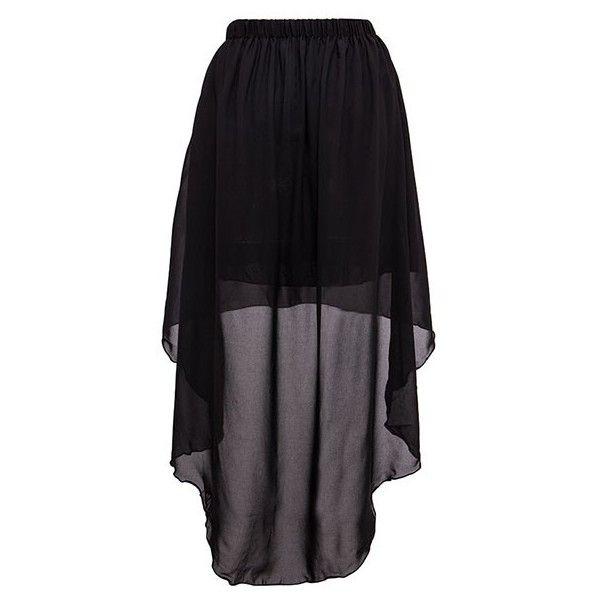 c1aa47f77e Short Skirt With Sheer Dip Hem Overlay ($16) ❤ liked on Polyvore featuring  skirts, mini skirts, black miniskirt, short front long back skirt, hi lo  skirt, ...