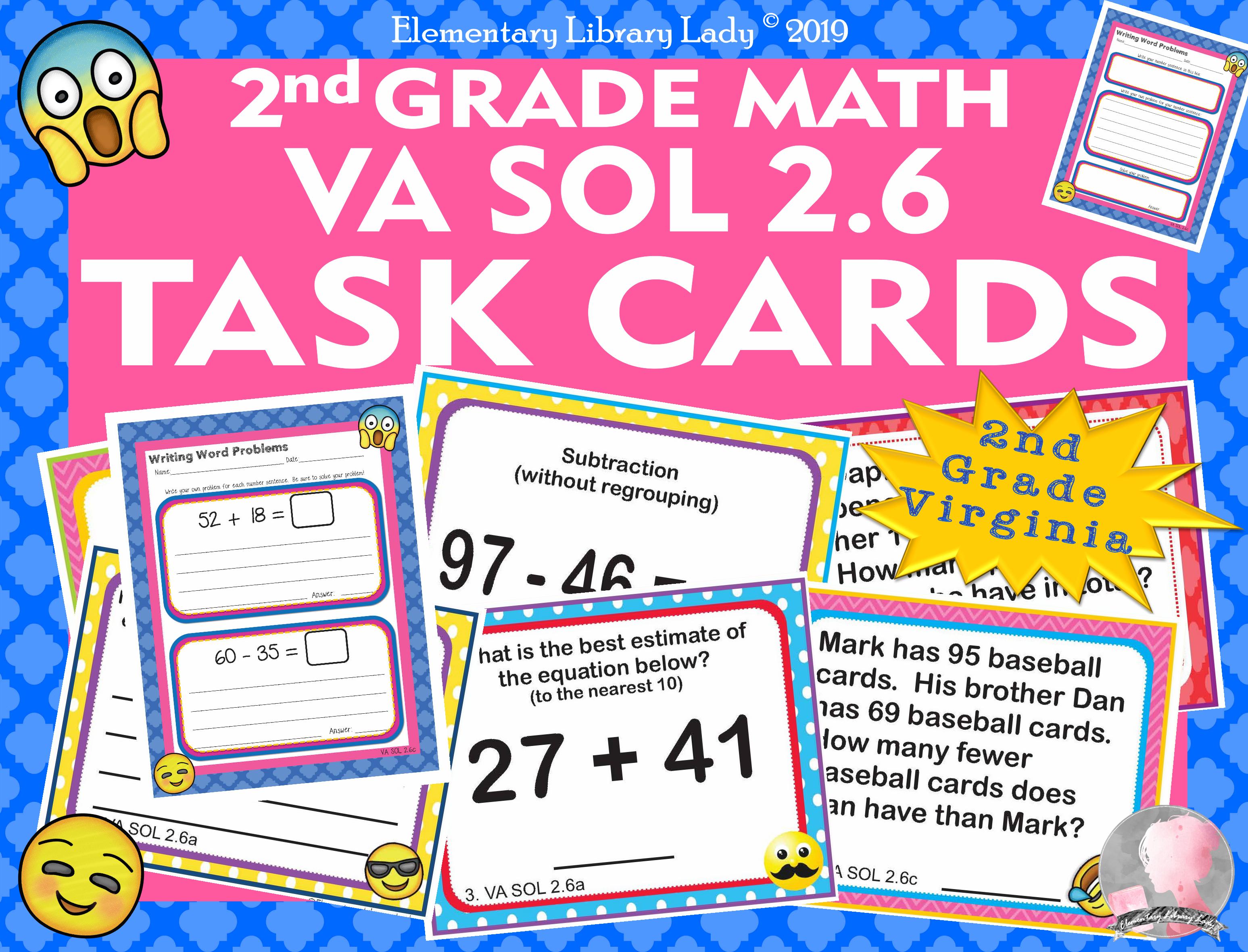 Virginia Sol Math 2nd Grade Task Cards Worksheets