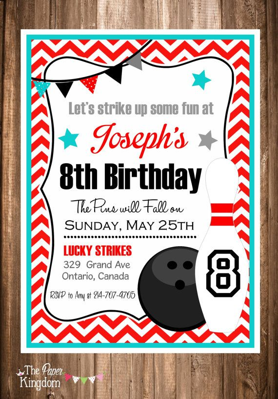 Printable bowling invitations bowling party invitation chevron printable bowling invitations bowling party by thepaperkingdom filmwisefo