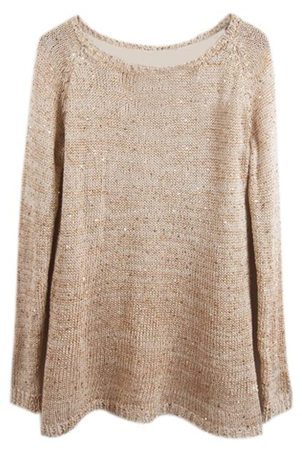 Buttons Embellished Sequined Split Griege Jumper