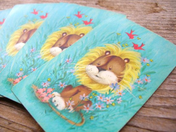 10 Aqua Spring Lion Playing Cards - Cute Lions - Lion with Birds - Vintage Playing Cards - Swap Cards by BohemianGypsyCaravan