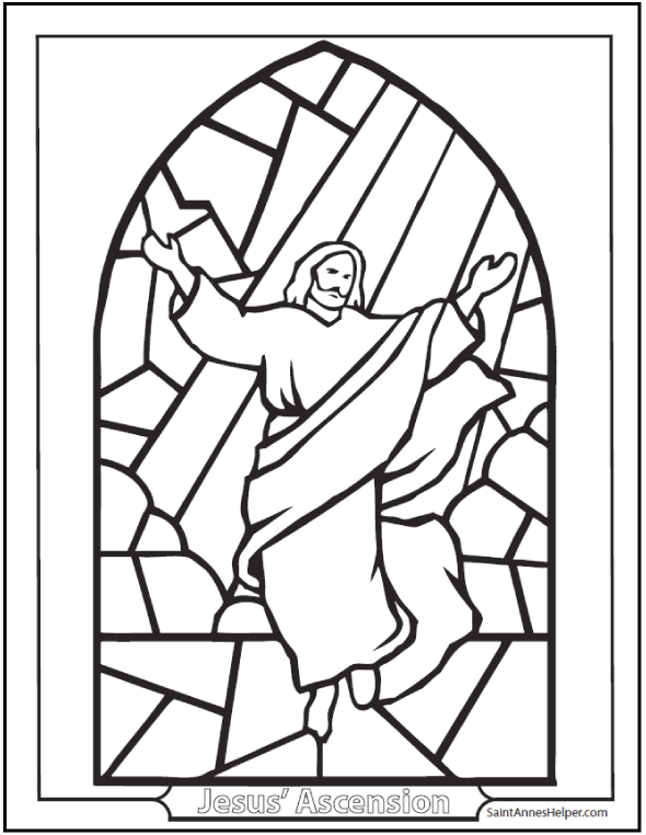 Stained Glass Jesus Ascension Coloring Page Easter Rosary Coloring Page Jesus Coloring Pages Bible Coloring Pages Coloring Books