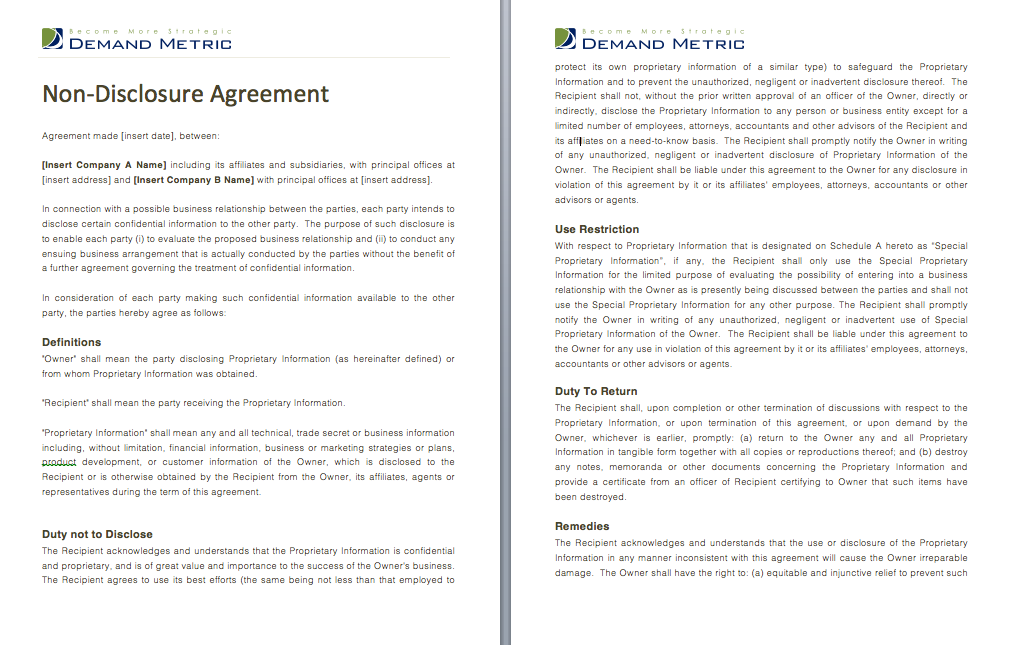 Non Disclosure Agreement Use This To Protect Yourself When Dealing