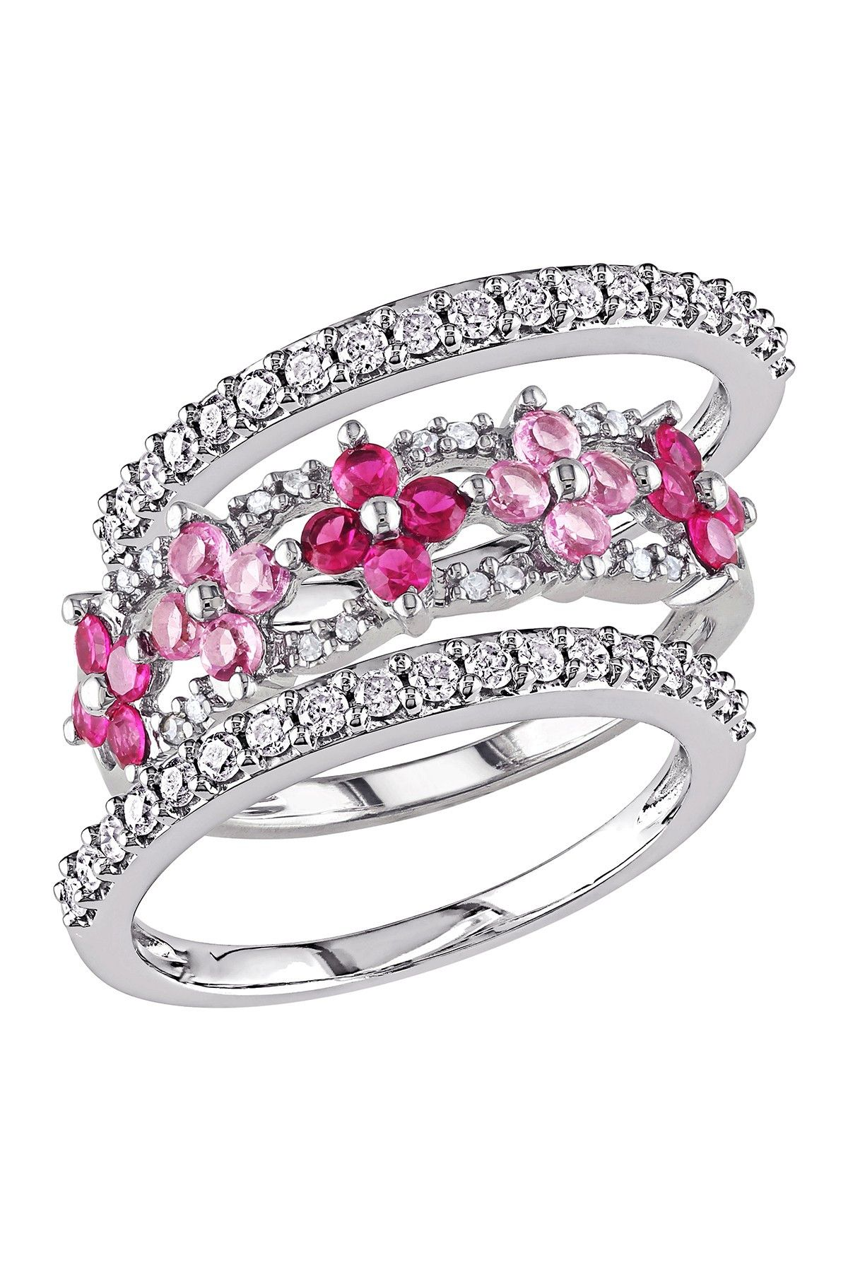 10k White Gold White Diamond Created Ruby Created Pink Sapphire