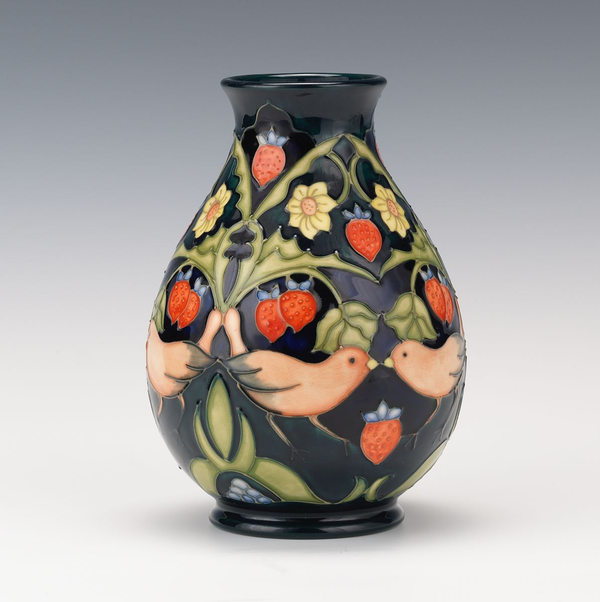 Moorcroft Strawberry Thief Vase Design Pottery