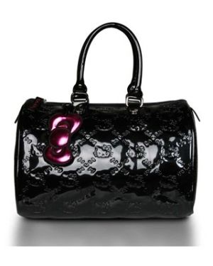 dcfdef8f0 Loungefly Hello Kitty Black Embossed Bowler Purse Tote Bag by Women Leather  Handbags