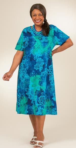 Plus Size Dresses To 4x La Cera Knit A Line Dress Deep Lagoon