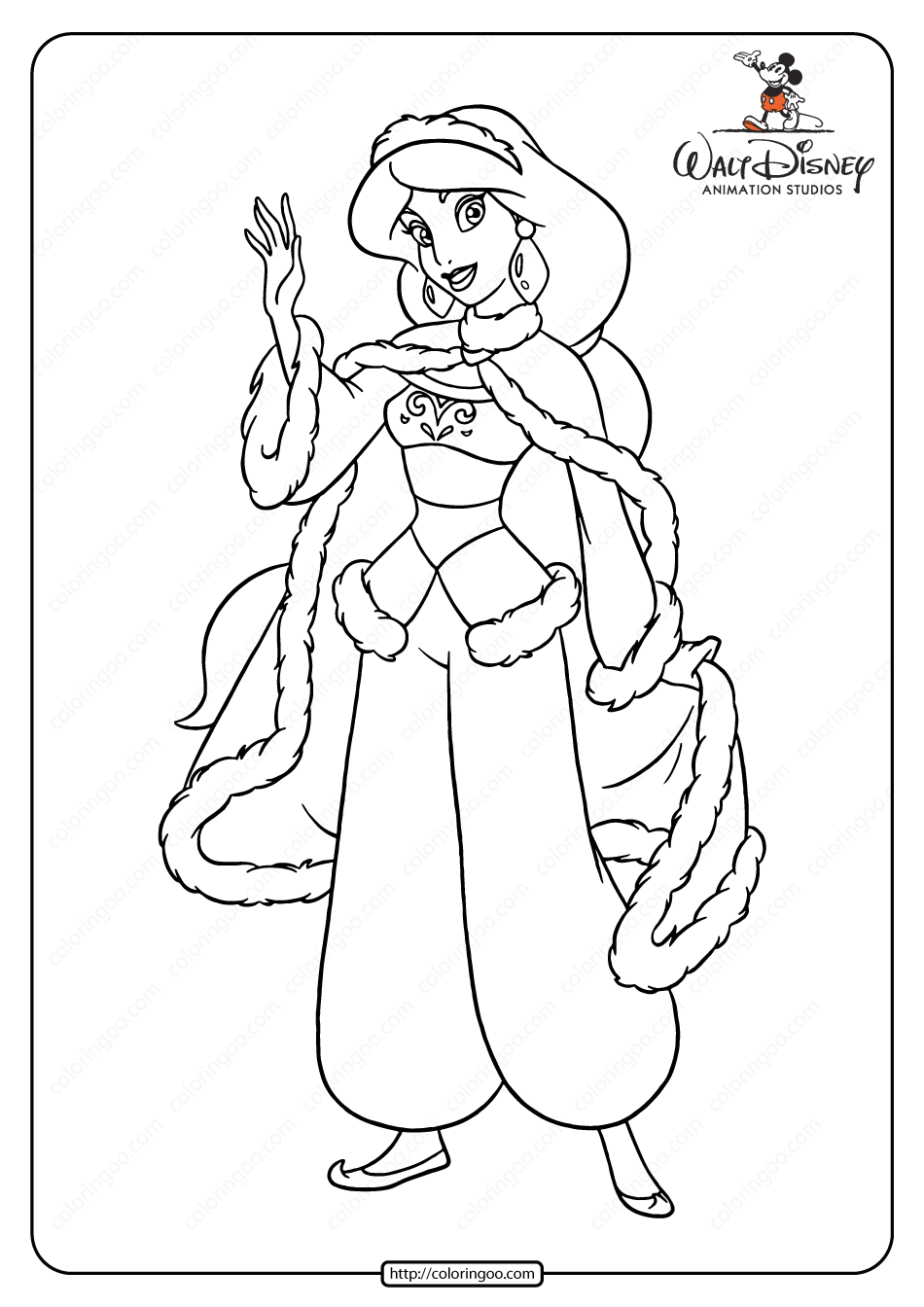 Princess Jasmine Ready For Winter Coloring Page Coloring Pages Princess Jasmine Color