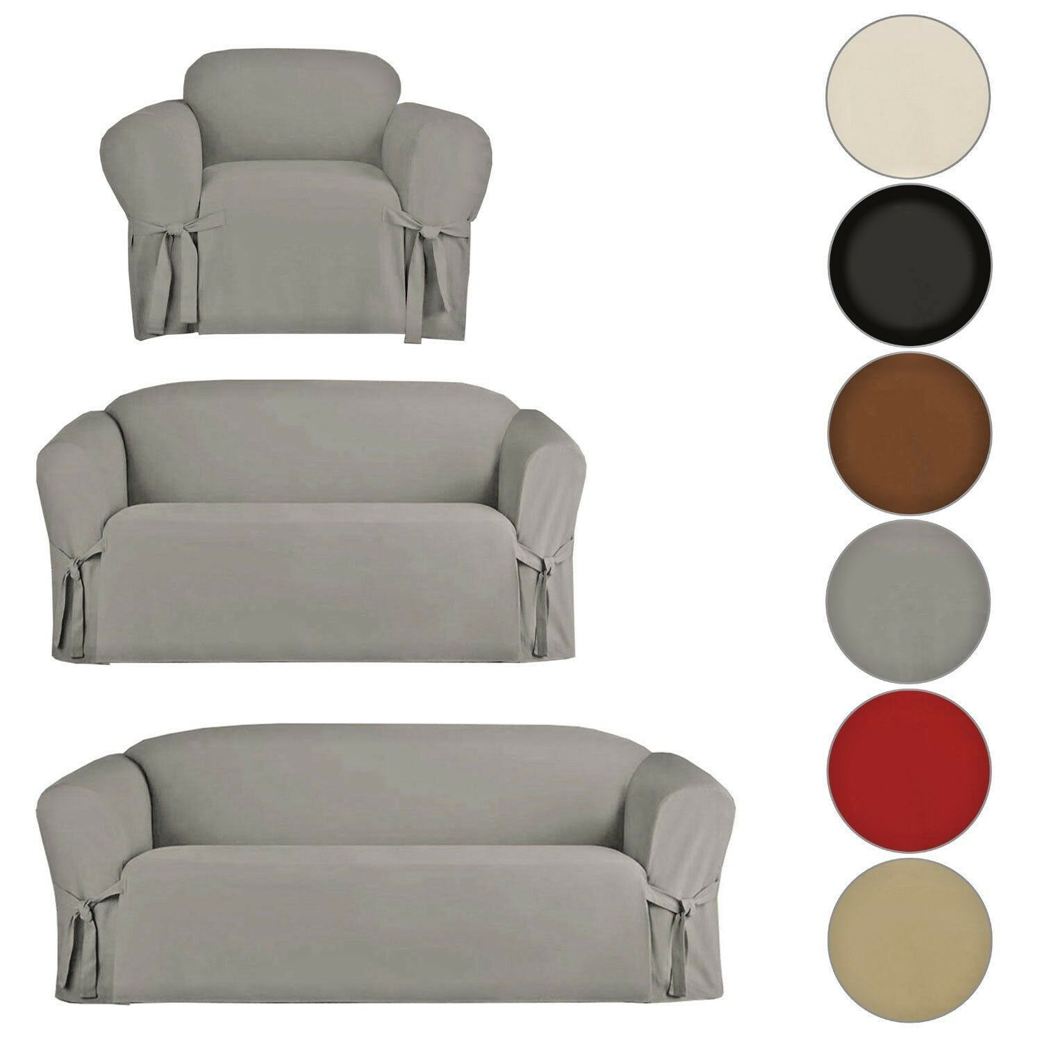 Best Slipcover Sofa Loveseat Chair Furniture Cover Brown Black 400 x 300