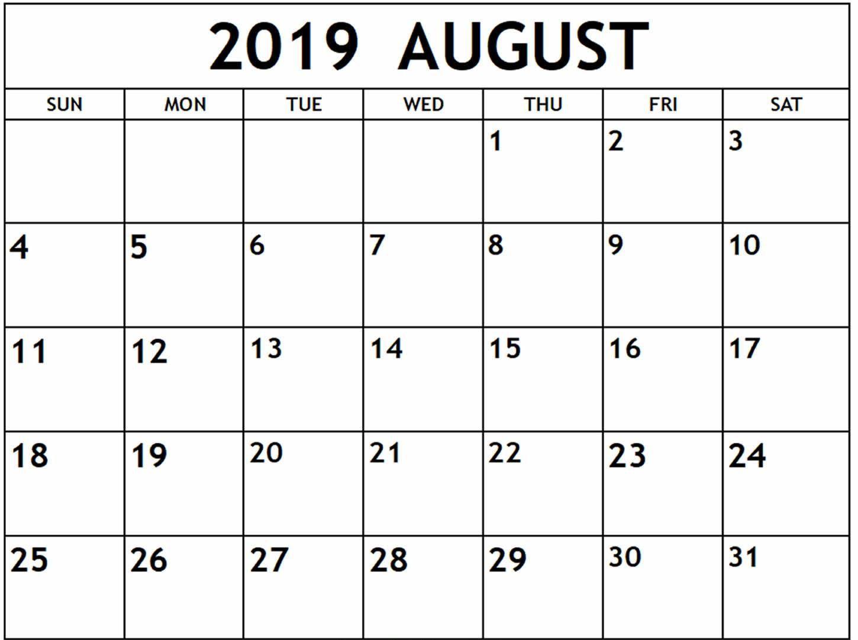 Printable August 2019 Calendar Page Calendar Printables August