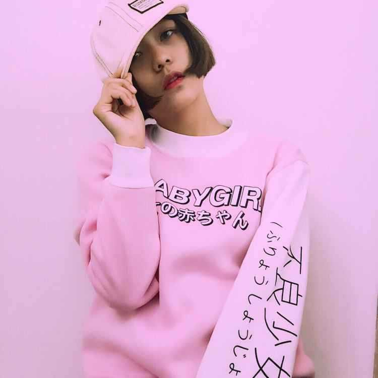 Harajuku Style Women Sweatshirts 2017 New Streetwear Japanese Worlds Printed Long Sleeved Hoodies Casual Pink Black O neck Tops-in Hoodies & Sweatshirts from Women's Clothing & Accessories on Aliexpress.com | Alibaba Group