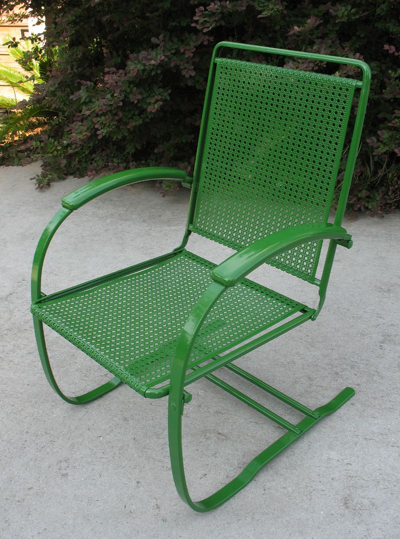1930s Howell Cane Bouncer Metal Lawn Chairs Old Metal Chairs Painted Metal Chairs