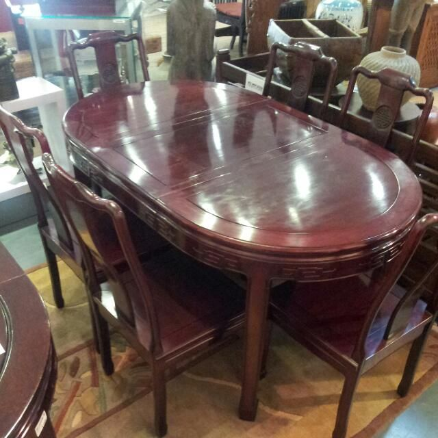 Rosewood Dining Table With 6 Chairs For 1 600 On Carousell