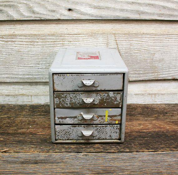 Vintage Industrial Distressed Grey Metal Cabinet by AuroraMills, $55.00