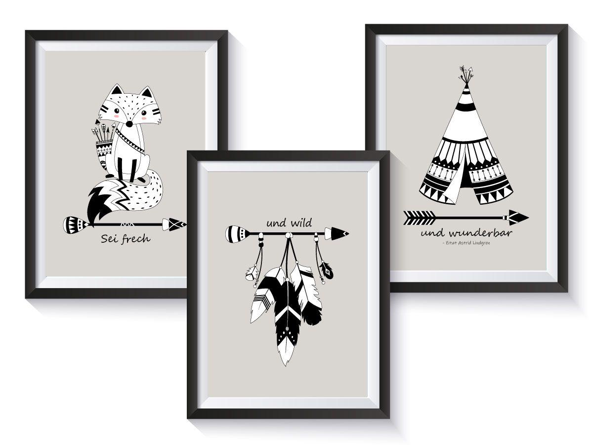 PosterSet Indianer Fuchs Pfeile Tipi Kinder zimmer