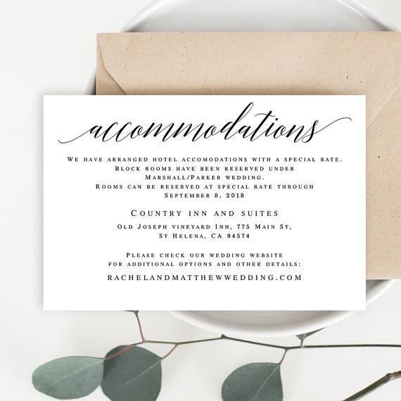 Accomodations Card Editable Templates Accommodation Insert Etsy Wedding Invitation Enclosures Wedding Invitation Enclosure Cards Wedding Templates Printable
