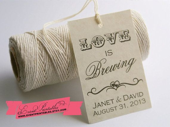 love is brewing favor tags bridal shower tea party gift tags
