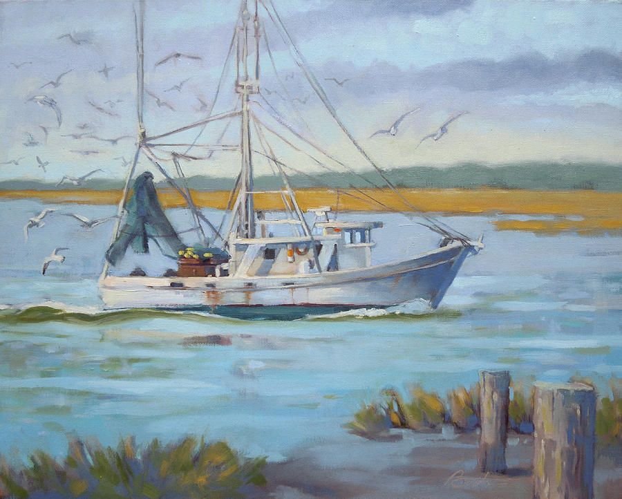 Edisto Shrimp Boat Painting by Todd Baxter