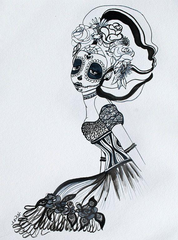 De Luto 11x14 original watercolor by MandylopandyArt on Etsy, $60.00  #diadelosmuertos, #dayofthedead