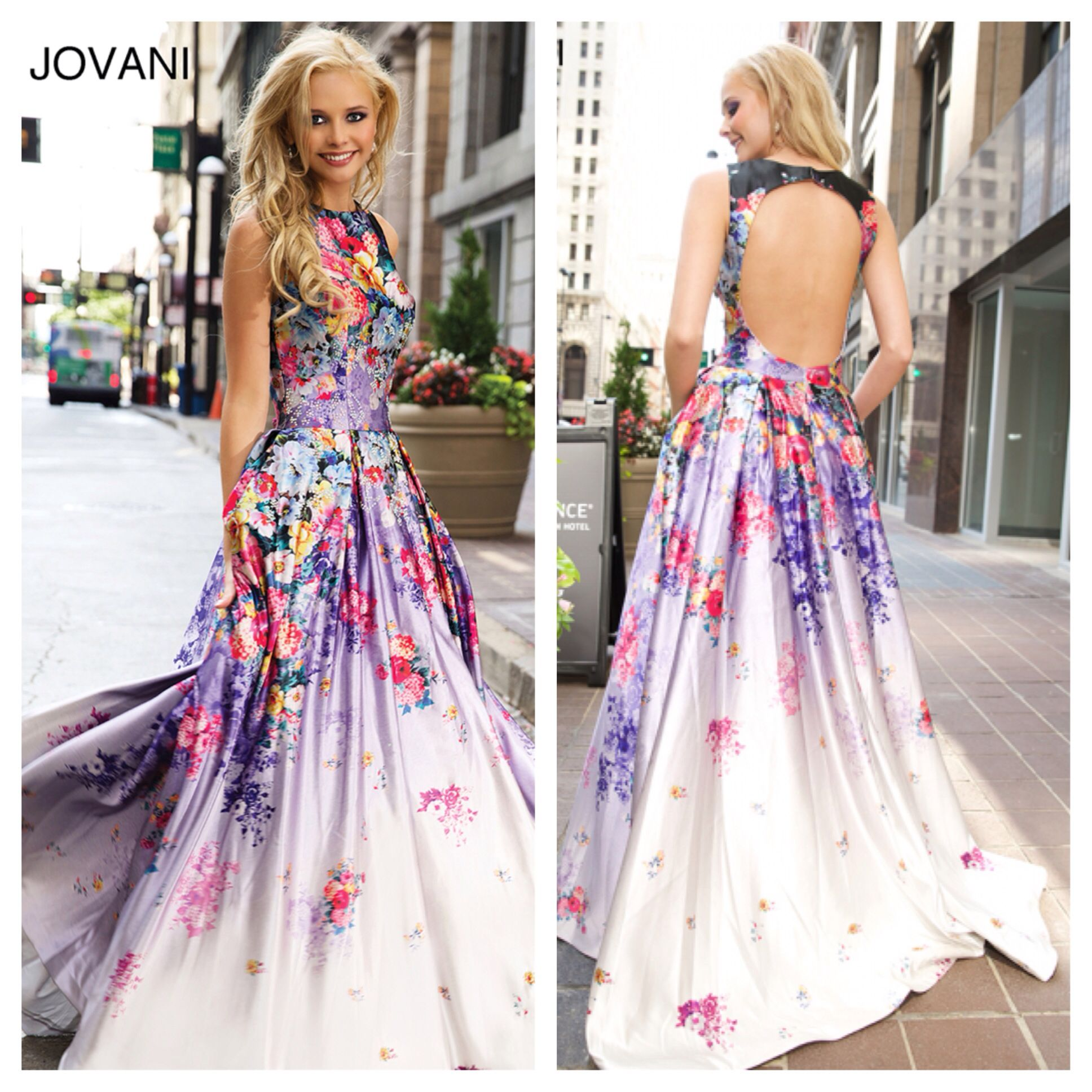 Long floral print ball gown with an open back. Jovani 22753 ...