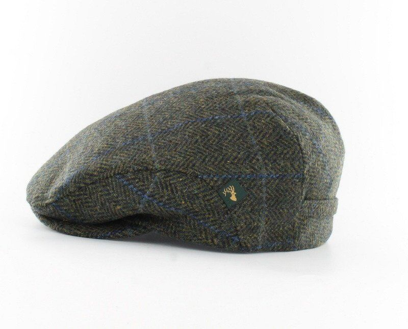 Irish Tweed Cap Green Plaid Herringbone 100% Wool Get the perfect touch to  an Irishman s wardrobe with this Irish tweed cap! This flat cap features a  green ... c31863fea325