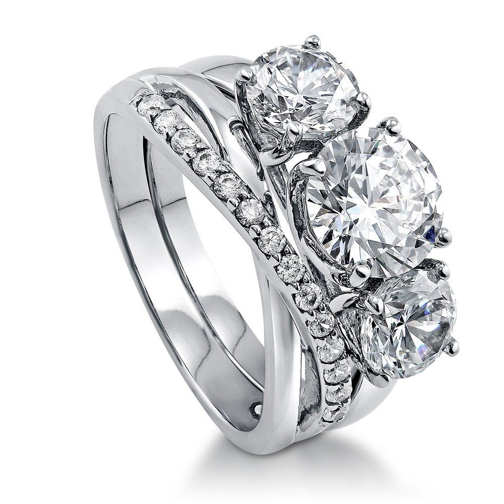 BERRICLE Rhodium Plated Sterling Silver Cubic Zirconia CZ 3Stone