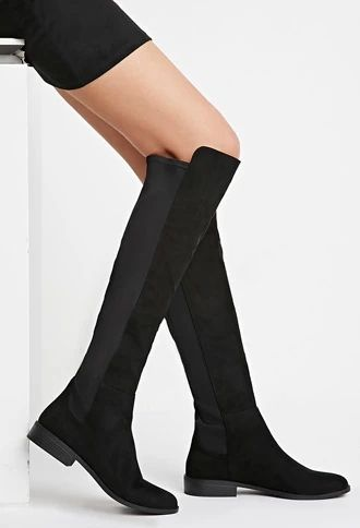 Faux Suede Knee-High Boots | Suede