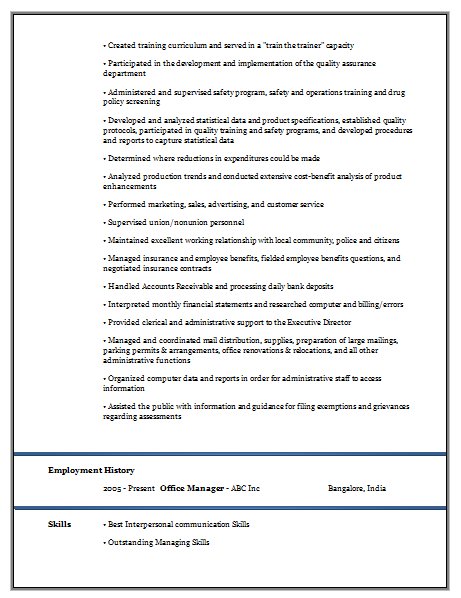 Experienced Resume Format Doc 2 Career Resume Resume Format