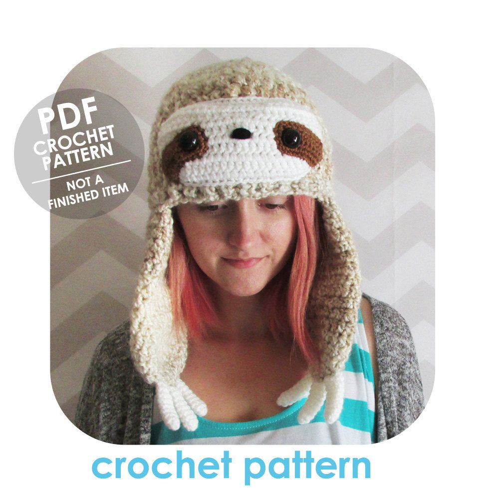 Hat crochet pattern, sloth hat, winter beanie, winter hat with ...