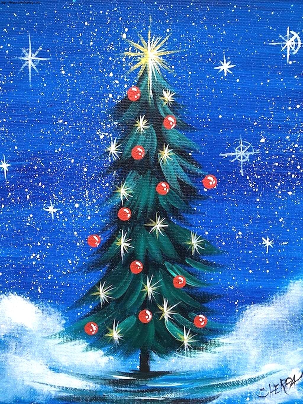 34 Awesome Cool Christmas Paintings Plan