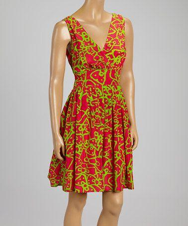 Another great find on #zulily! Magenta & Lime Abstract Empire-Waist Dress - Women #zulilyfinds