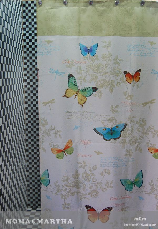 Colourful Butterfly And Floral Fabric Bathroom Shower Curtain