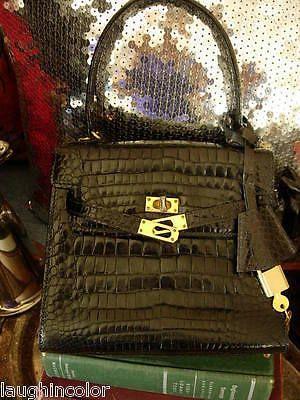 RARE Vintage Black Alligator Birkin Style Bag Purse Tote Handbag Satchel Italy