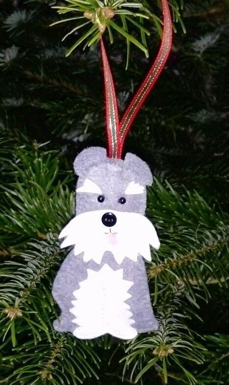 Handmade Felt Schnauzer Puppy Dog Christmas Tree Decoration Christmas Tree Decorations Handmade Felt Christmas Dog