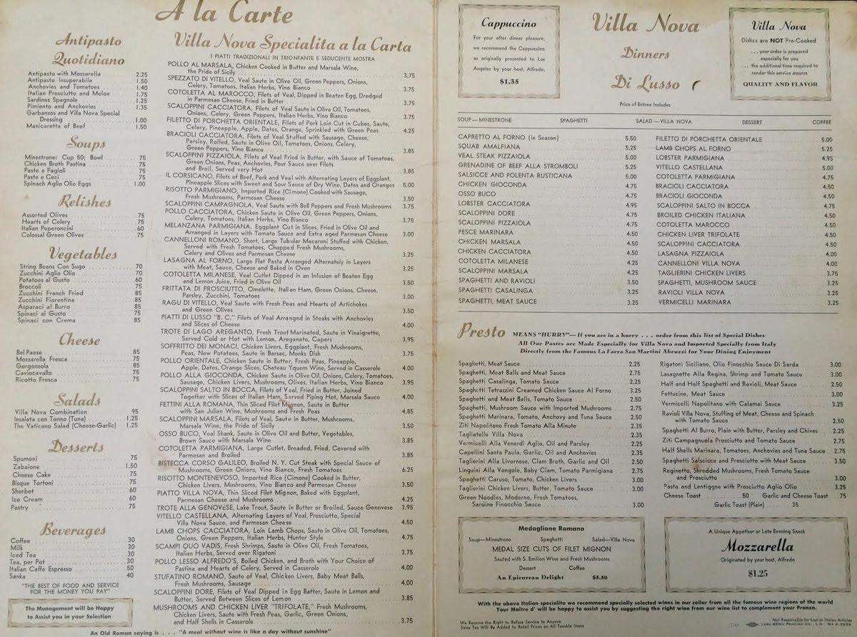 Villa Nova 1950's restaurant menu Menu restaurant, Nova