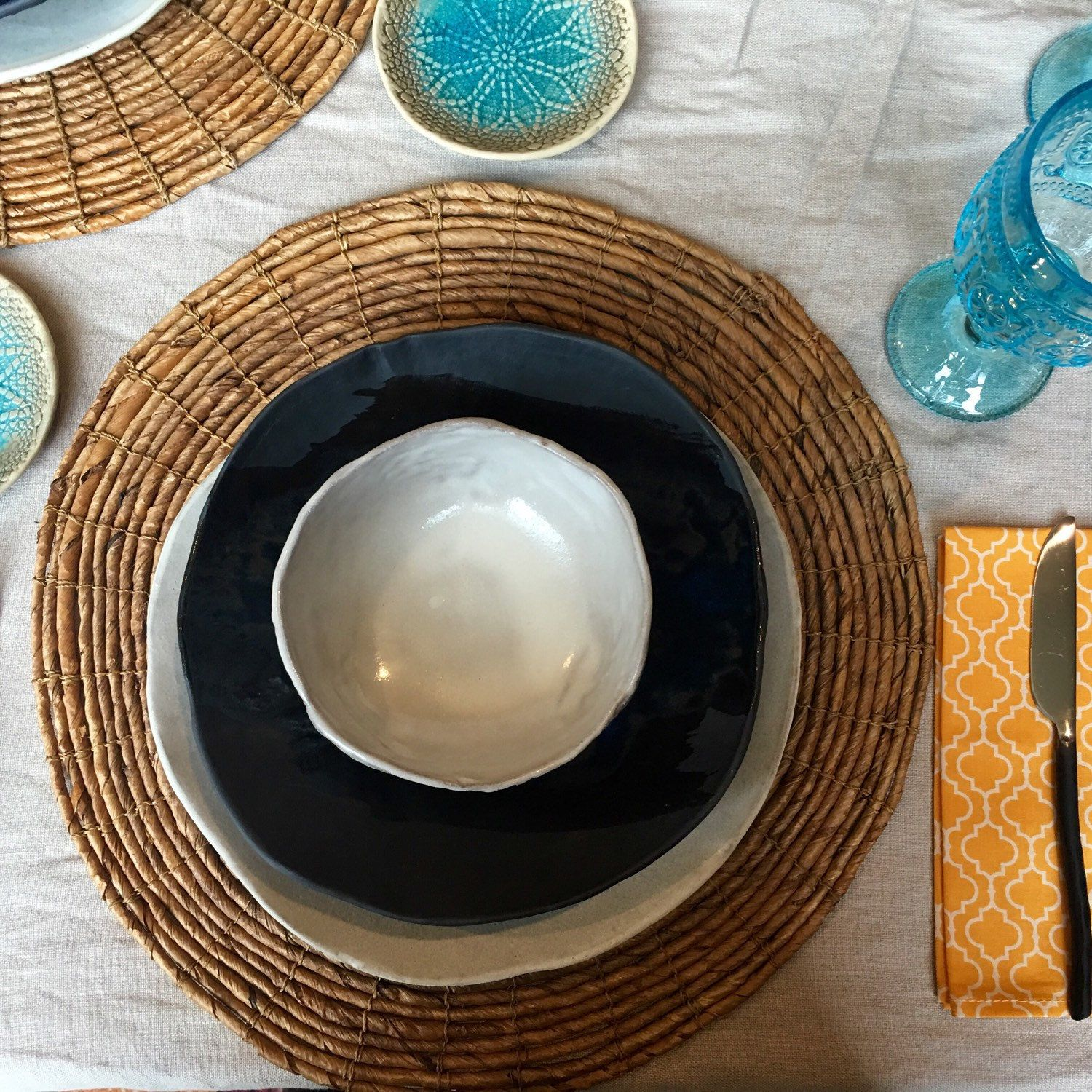 My white dinner plates mix-match all other glaze colors! & White ceramic dinner plates - Set of 4