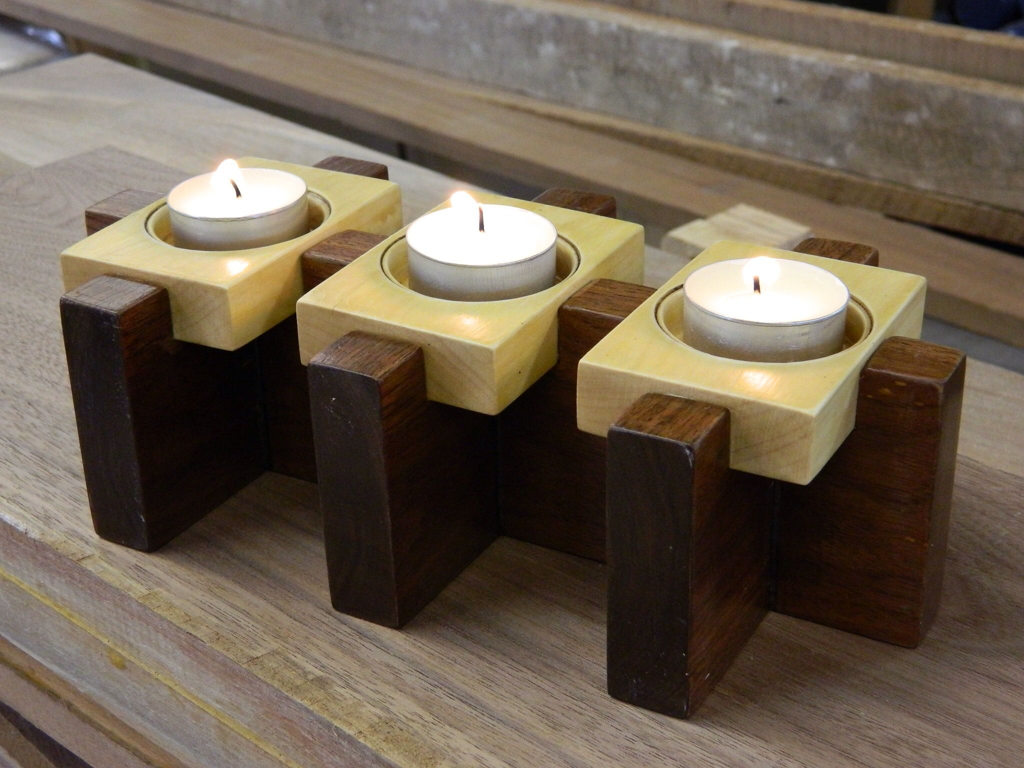 Walnut And Maple Candle Holder 2 Tea Candle Holders Wooden Candle Stand Wooden Candle Holders