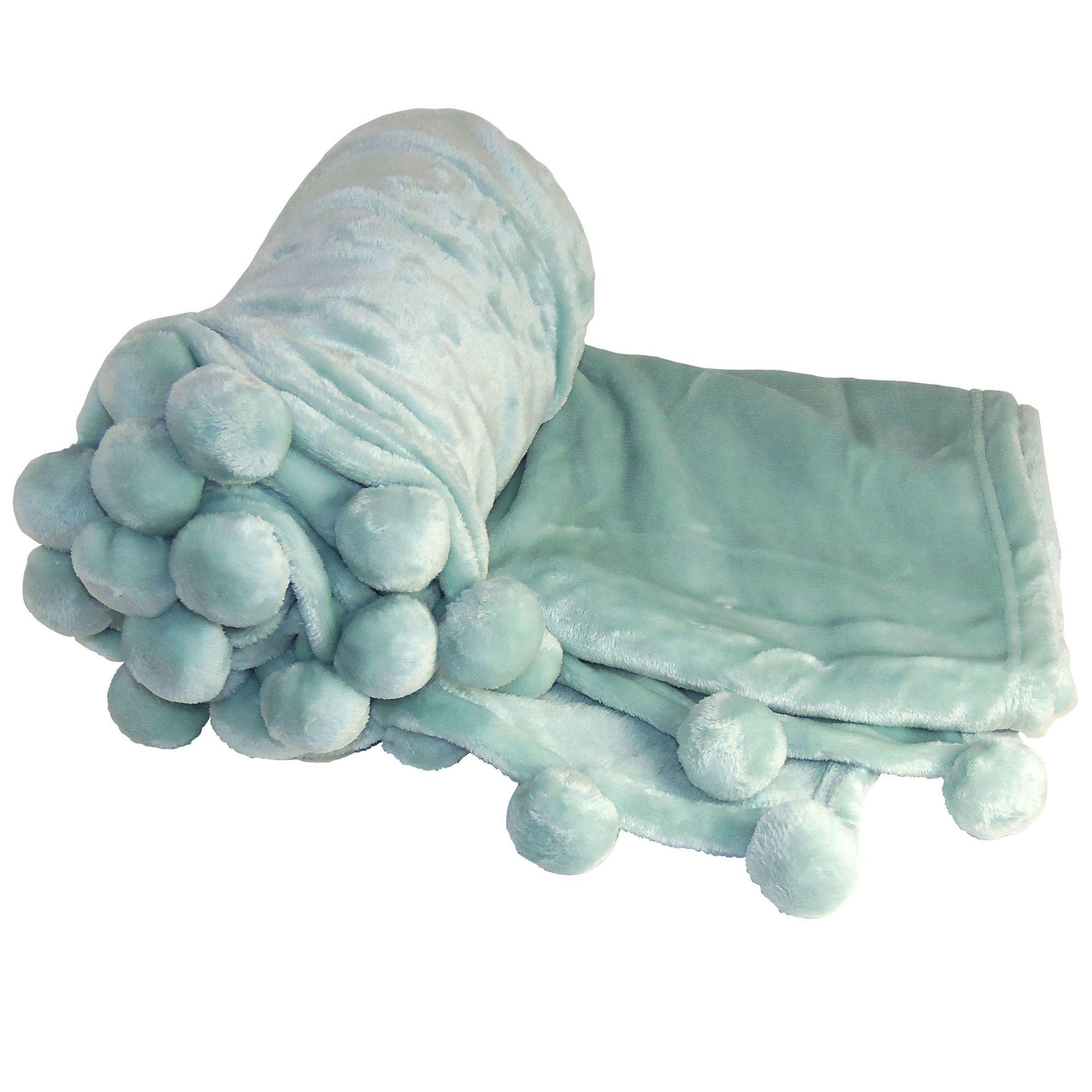 Flannel fleece blanket  BOON Throw u Blanket Flannel Fleece Pom Pom Throw Blanket u Reviews