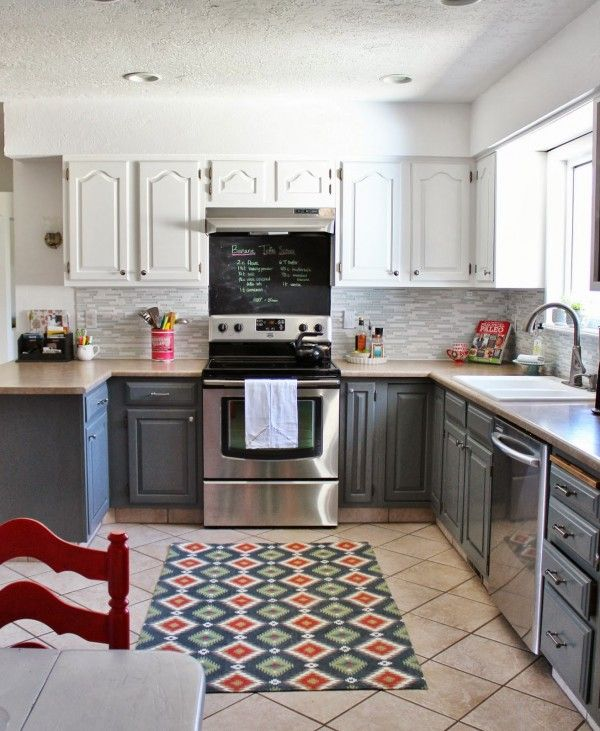 Two Tone Kitchen Cabinets Oak: Two-tone Grey And White Kitchen Makeover, House For Five